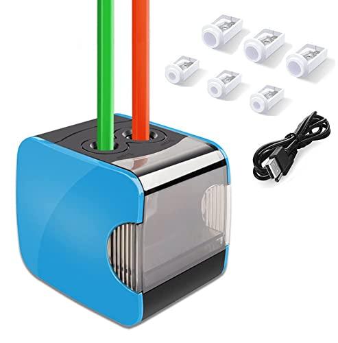 Temperamatite elettrico, temperamatite automatico Oladwolf con due fori, temperamatite batteria e USB Due supporti moda con 6 lame SK5 sostitutive, antiscivolo, stop automatico per la sicurezza