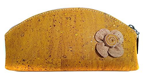 Beauty case in sughero naturale fatto a mano. Vegano Modello'Flor' giallo