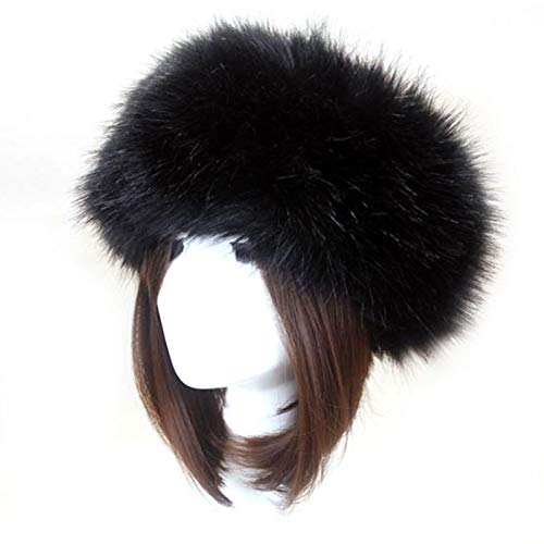 GeKLok - Cappello da donna in finta pelliccia russa con finta pile, con visiera calda, accessorio per capelli, da donna in finta pelliccia