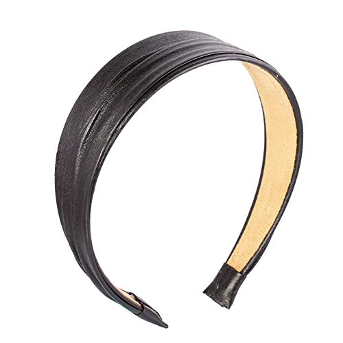 Cerchietto per capelli vintage, accessorio alla moda, in pelle PU, colore: nero, nero