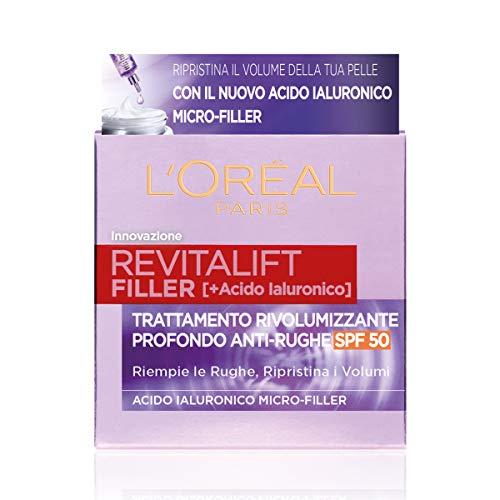 L'Oréal Paris Crema Viso Giorno Revitalift Filler, Azione Antirughe Rivolumizzante con Acido Ialuronico Micro-filler, SPF 50, 50 ml