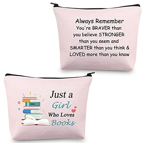 Just a Girl Who Loves Books Makeup Bag Book Gift for Women Book Lover Gifts Book Lover Book Cosmetic Bag Zipper Pouch Travel Toiletry Bag Organizer Bag, Borsa Amante del libro,
