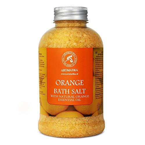 Sale Marino con Olio Essenziale di Arancio 600g - Sali da Bagno Naturali per un Buon Sonno - Riduzione dello Stress - Cura del Corpo - Rilassamento - Bellezza - Aromaterapia