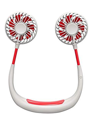 Hqm Pigro Neck Fan USB Ricaricabile Mini indossabile Neck Fan, Luce elettrica Doppio Collo Viso con LED, Campeggio di Corsa Esterna, Aromaterapia Ufficio,1