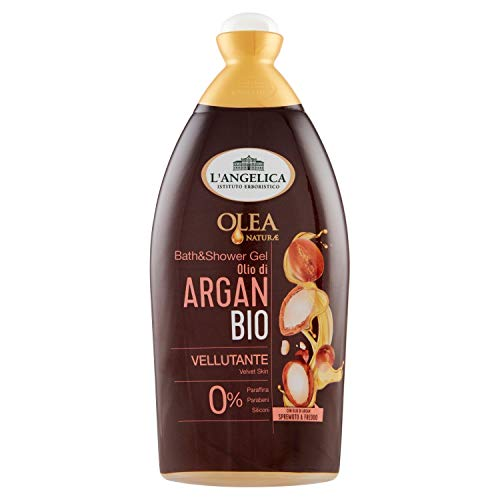 L'Angelica, Bagnodoccia Vellutante Olio Bio di Argan, Bagnoschiuma, Effetto Vellutante, Senza Parabeni, Confezione da 500 ml