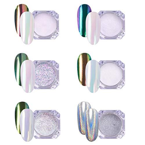 AIMEILI 6 Boxs Polvere Unghie Effetto Specchio Polveri Unghie Effetto Perla Iridescente Chrome Laser Chameleon Peacock Holographic Pigmento Neon Glitter Metallizati Kit di Decorazione Nail Powder