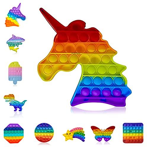 Giocattolo sensoriale PLASTIfico Push & Pop & Bubble | Autismo necessità speciali antistress | Giocattoli ansiosi | Giocattolo sensoriale a bolle di estrusione (unicorno arcobaleno)