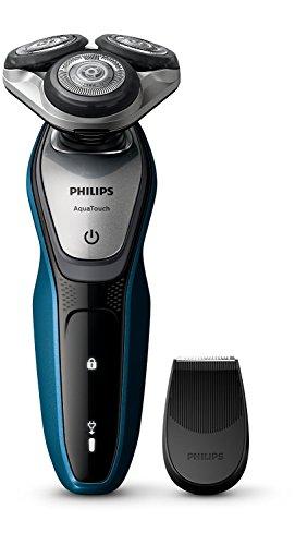 Philips AquaTouch S5420/06 Rasoio Elettrico AquaTec Wet & Dry con Lame MultiPrecision,Testina Flex 5 Direzioni e Sistema di Protezione della Pelle + Rifinitore Precisione, Impermeabile, Batteria, Blu