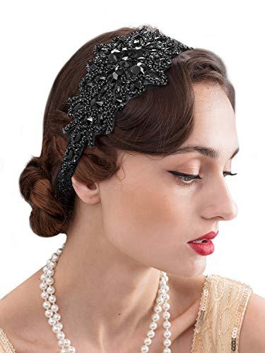 SWEETV - Fascia elastica per capelli con strass neri anni '20, accessorio per capelli Gatsby da donna