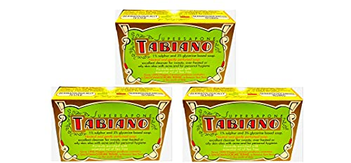 MAUQI - x3 'Tabiano Super Sapone con Zolfo 125 grammi' - x3 PEZZI da 125 grammi l'uno - Totale 375 grammi - by MAUQI