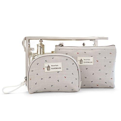 SPAHER Impermeabile Beauty Case da viaggio Borsetta da Viaggio Organizzatore Borsa da Toilette Portatrucchi Make up Borsa Trucco di Caso Cosmetico Borsa Sacchetto Wash Bag borsa lavaggio borsa-Grigio