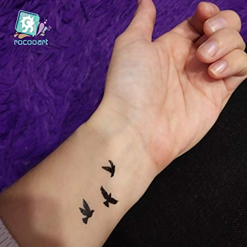 SDEFGH Adesivo tatuaggio Autoadesivo temporaneo del Tatuaggio del Colibrì Impermeabile del Tatuaggio del Rondine dell'uccello del Corpo Nero di Colore 3PCS per Le Donne