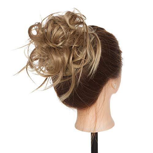Elailite Chignon Elastico Capelli Extension Finti Posticci Ricci Messy Hair Bun Updo Ponytail Extensions Coda di Cavallo Ciambella 45g, Marrone Chiaro mix Biondo Naturale