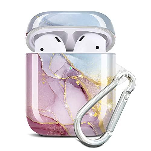 JIAXIUFEN - Custodia per AirPods in silicone TPU con glitter e design in marmo, con custodia protettiva per AirPods 2 e 1, colore: Viola Blu