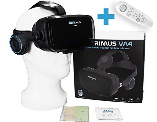 VR Primus® VA4, Occhiali VR con Cuffie. Compatibile con iPhone X XS e Smartphone Android Fino a 6.2' Come Samsung, Huawei,LG,Sony,Xiaomi. con Google Cardboard App |+ Telecomando per telefoni Android