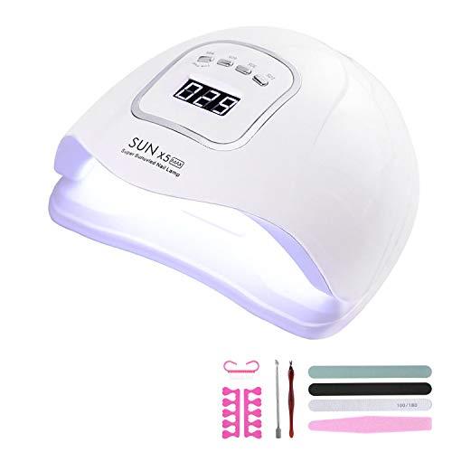 150W Lampada Unghie LED UV Professionale,Per Manicure/Pedicure,Sensore Di Avvio Automatico Con La Possibilità Di Lmpostare 4 Timer 10s/30s/60s / 99s, Con kit per nail art kit