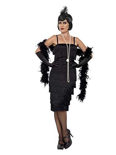 SMIFFYS Costume Flapper, Nero, abito lungo, fascia per capelli e guanti