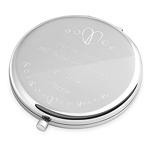Maverton Specchio Rotondo da Borsetta - Personalizzazione a Incisione Laser - 2 in 1 - Specchio Ingranditore + Specchio - Specchio Trucco - regalo donna compleanno - Amore