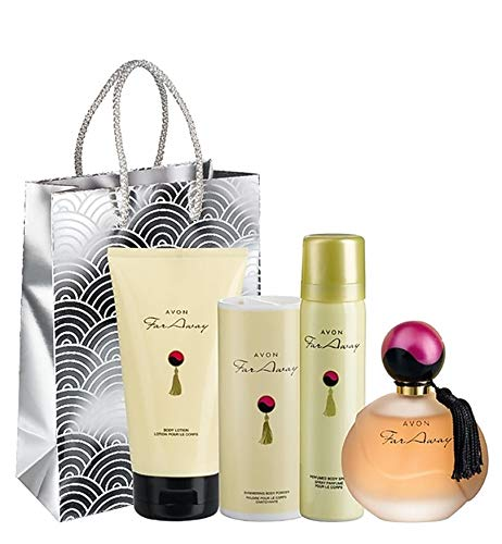 SET FAR AWAY AVON- Lozione per il corpo (150 ml) Talco profumato scintillante (40 g) Spray profumato per il corpo (75 ml) Eau de Parfum Spray (50 ml) Sacchetto regalo