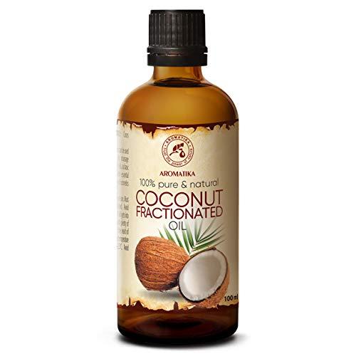 Olio di Cocco Frazionato 100ml - 100% Puro e Naturale - Miglior per Pelle - Unghie - Labbra - Capelli - Viso - Corpo - usato come Agente Puro - Eccellente per SPA - Relax - Bagno - Bottiglia di Vetro