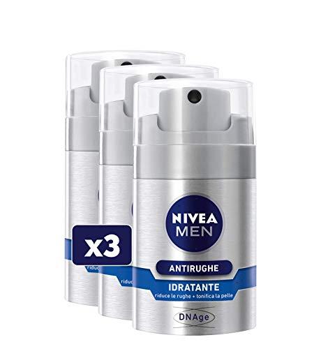 NIVEA MEN Antirughe Idratante DNAge in confezione da 3 x 50ml, Crema antirughe con Filtri UVA & UVB, Acido Folico e Creatina, Dopobarba antirughe per una pelle elastica