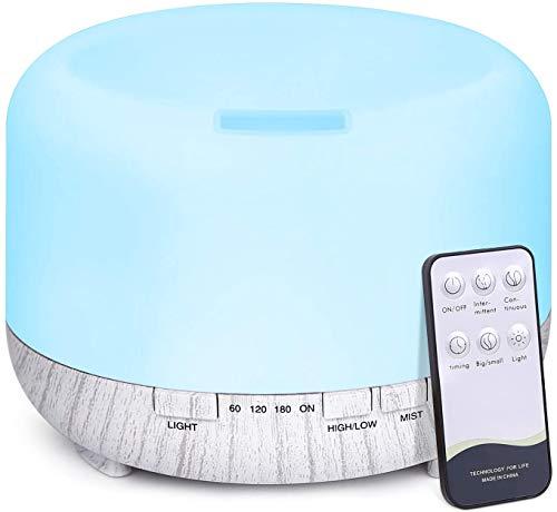 500ml Diffusore di Oli Essenziali con Telecomando, Tenswall Ultrasuoni Umidificatore Diffusore di Aromi con 7 Colori LED per Yoga, Spa, Ufficio, Casa