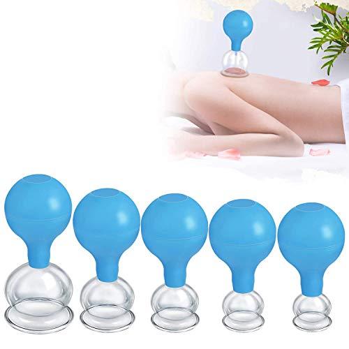 VSADEY Set di 5 Apparecchiature Professionali per Terapia con Coppettazione Set Ventose Anticellulite per Massaggio Domestico