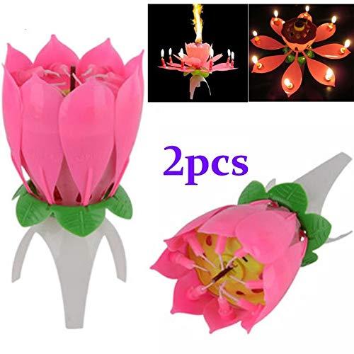 KiMiLIKE 2pcs Magia Musical Flower Music Candele di Loto della Candela del Fiore di Compleanno Candele Regalo Romantico di Compleanno della Decorazione del Partito