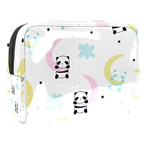 Makeup Bag for Purse PVC Travel Cosmetic Pouch Cute Panda Moon Toiletry Bag for Women Girls Gifts Portable Water-Resistant Daily Storage Organizer 7.3x3x5.1 Inch
