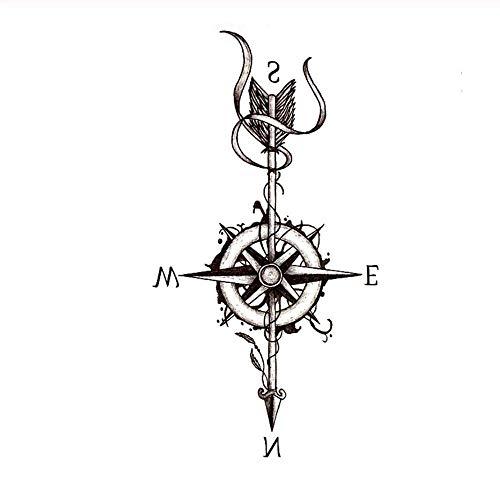 HYTGF Tatuaggio temporaneo Adesivo t Halloween Bussola Adesivo Tatuaggio temporaneo Impermeabile con Freccia Adesivi Tatuaggio Tatuaggio Freccia A