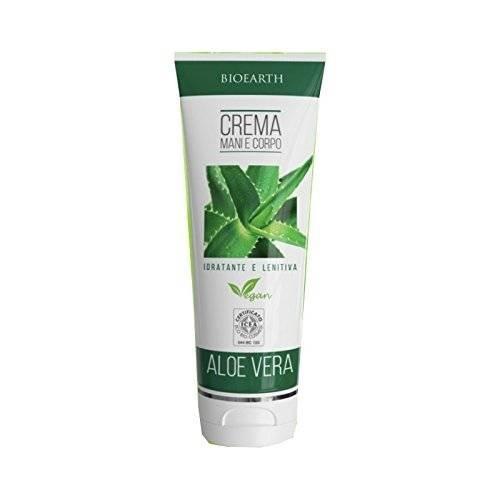 BIOEARTH - Crema Corpo e Mani all'Aloe Vera - Estremamente Idratante e Lenitiva - Vegan e Certificato Icea - 200 ml