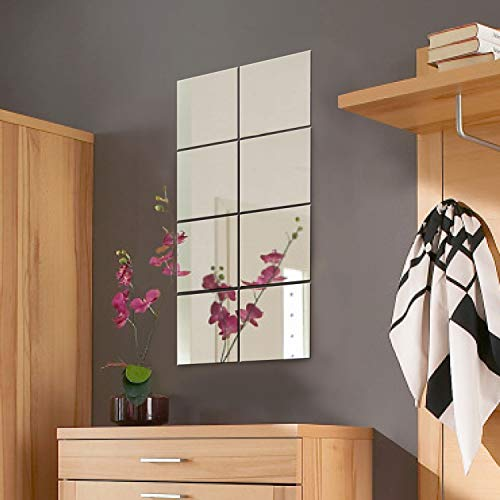 Wohaga, 8 piastrelle specchiate, 20,5 x 20,5 cm, decorazione e specchio da parete