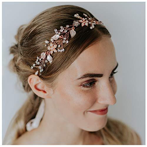 SWEETV Oro Rosa Nuziale Fasce per Capelli Boemo Cristallo Perla Cerchietti Fiore Accessori per Capelli da Sposa per Le signore