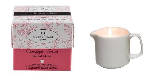 Beauty Image candela con olio per massaggio corpo alla fragola e champagne