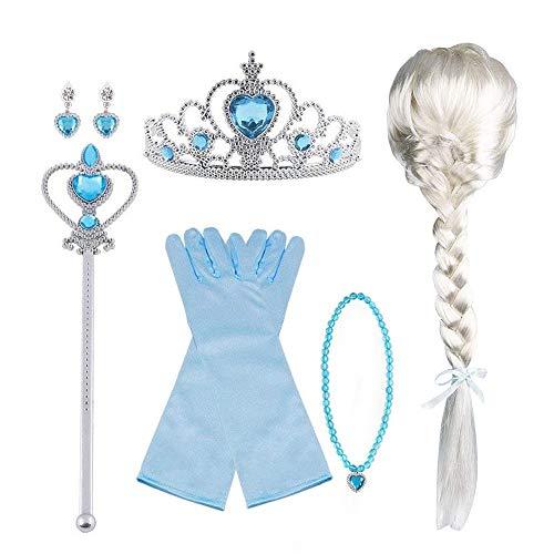 Vicloon Nuovi Costumi da Principessa Set Dono da Tiara, Guanti, Bacchetta Magica, Anello, orecchino, Collana da 3 a 9 Anni (9pcs)