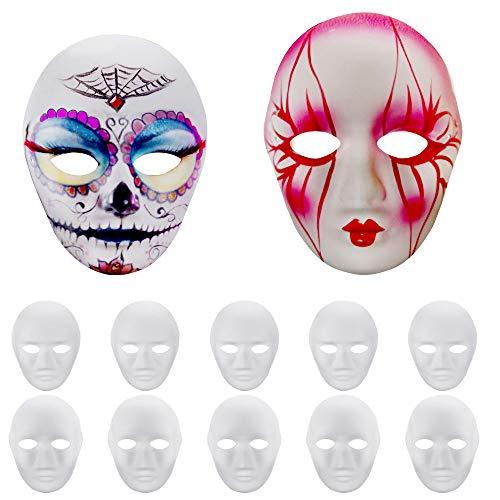 GOLRISEN Maschera Bianca da Decorare, 12 Pezzi Maschere in Cartone, Maschere Bianche da Dipingere per Halloween, Carnevale, Festa per Bambini e Cosplay(6 Visi Adulti e 6 Visi Bambini)