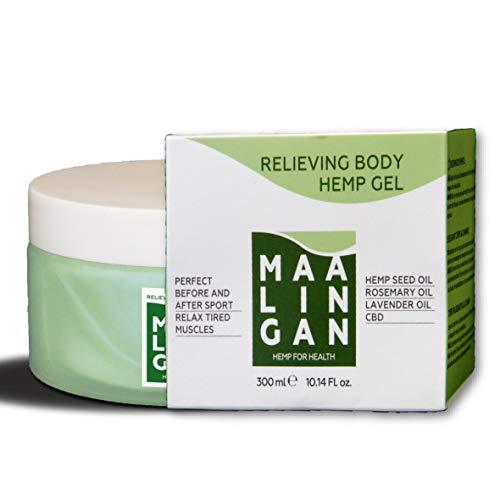 Maalingan gel antidolorifico lenitivo e rilassante maxi formato alla canapa. Pomata per dolori muscolari, schiena, collo e articolazioni. Crema perfetta per massaggi. Ottima prima e dopo lo sport