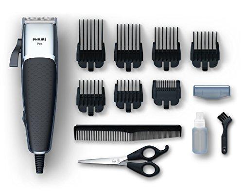 Philips HC5100 Pro Clipper Tagliacapelli e Regolabarba con Motore Lineare e Lame Tip2Tip 100% Inox, 7 Pettini da 0.5-25 mm, Cavo da 280 cm