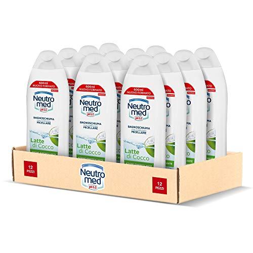Neutromed Bagnoschiuma Corpo Micellare Idratante, Docciaschiuma Rinfrescante Latte di Cocco, 12 pezzi x 600 ml