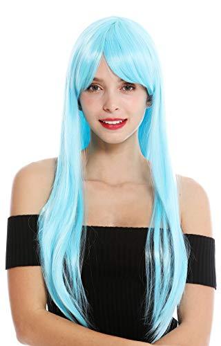 WIG ME UP - YZF-41062-T4516 Parrucca Donna Cosplay Lunga Liscia Frangetta Riga Azzurro