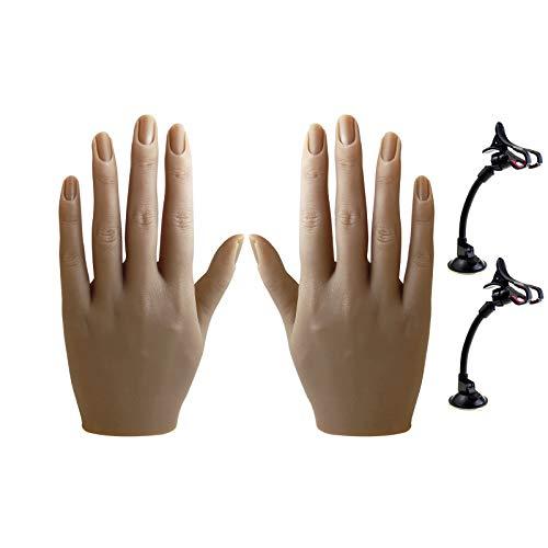 XMASIR Silicone Mano Pratica Per Acrylic Nails, Flessibile Pieghevole Mannequin Femminile Life Size Pratica Di Mano Con Supporto Per Unghie Chiodo Di Pratica Di Formazione Pratica (2P)