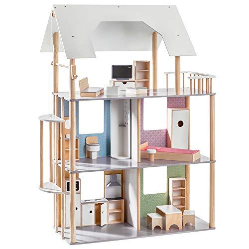 Howa Casa delle Bambole per Vestire Le Bambole Fino a 30 cm, incl. 19 pz. Set di mobili in Legno 70103