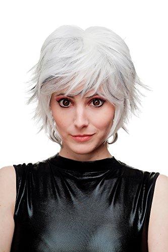 WIG ME UP - Parrucca Donna Cosplay Acconciatura corta scompigliata Platino/Argento/Bianco con Ciocche Nere SA069-1001H1B