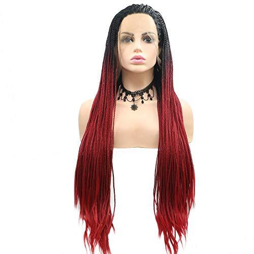 Drag Queen Afro America Box parrucche intrecciate radici nere ombre sirena rossa sintetica pizzo frontale parrucche per donne signore Cosplay partito trecce lunghe capelli