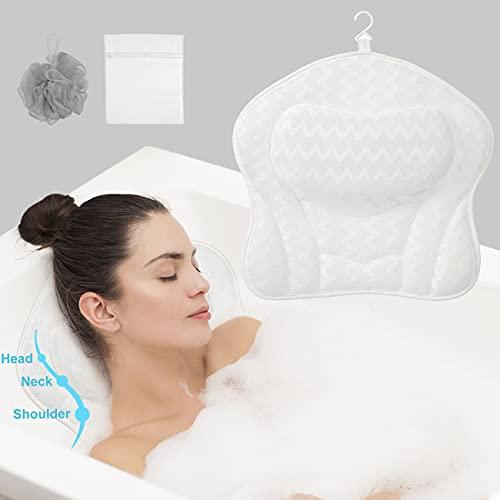 COSYLAND Cuscino da Bagno Cuscino per Vasca da Bagno 3D Air Mesh e 6 Potenti Ventose, Cuscini da Bagno per Supporto Testa, Collo e Spalle per Vasca da Bagno e Spa Domestica, Asciugatura Rapida, Bianco