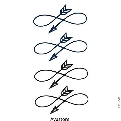 AVASTORE - Tatuaggio temporaneo da donna, motivo: infinito, con freccia, colore: nero, blu, minimalista, tatuaggio temporaneo, per donna, infinito, freccia, colore: Nero e Blu