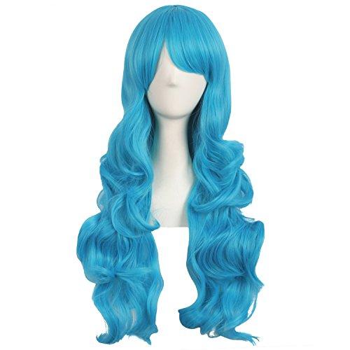 MapofBeauty 28 Pollic/70cm Parrucca Cosplay Lunga Capelli Ricci Della Signora Di Modo (Ciano Blu)