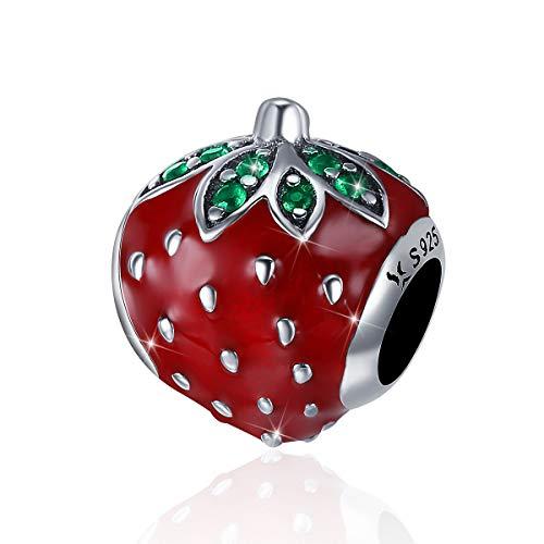 Ciondolo in argento Sterling 925 a forma di fragola smaltata, colore rosso, compatibile con braccialetti e collane Pandora