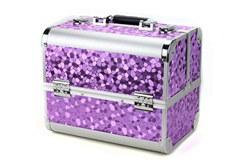 Glow - Beauty case professionale per trucchi, gioielli, smalti per unghie, accessori di bellezza Purple