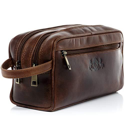 SID & VAIN® borsa toiletry vera pelle vintage GATWICK grande borsetta necessaire Toilette pochette beauty case da Viaggio uomo cuoio marrone